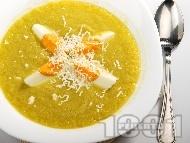 Рецепта Крем супа от праз, целина с варени яйца и сирене